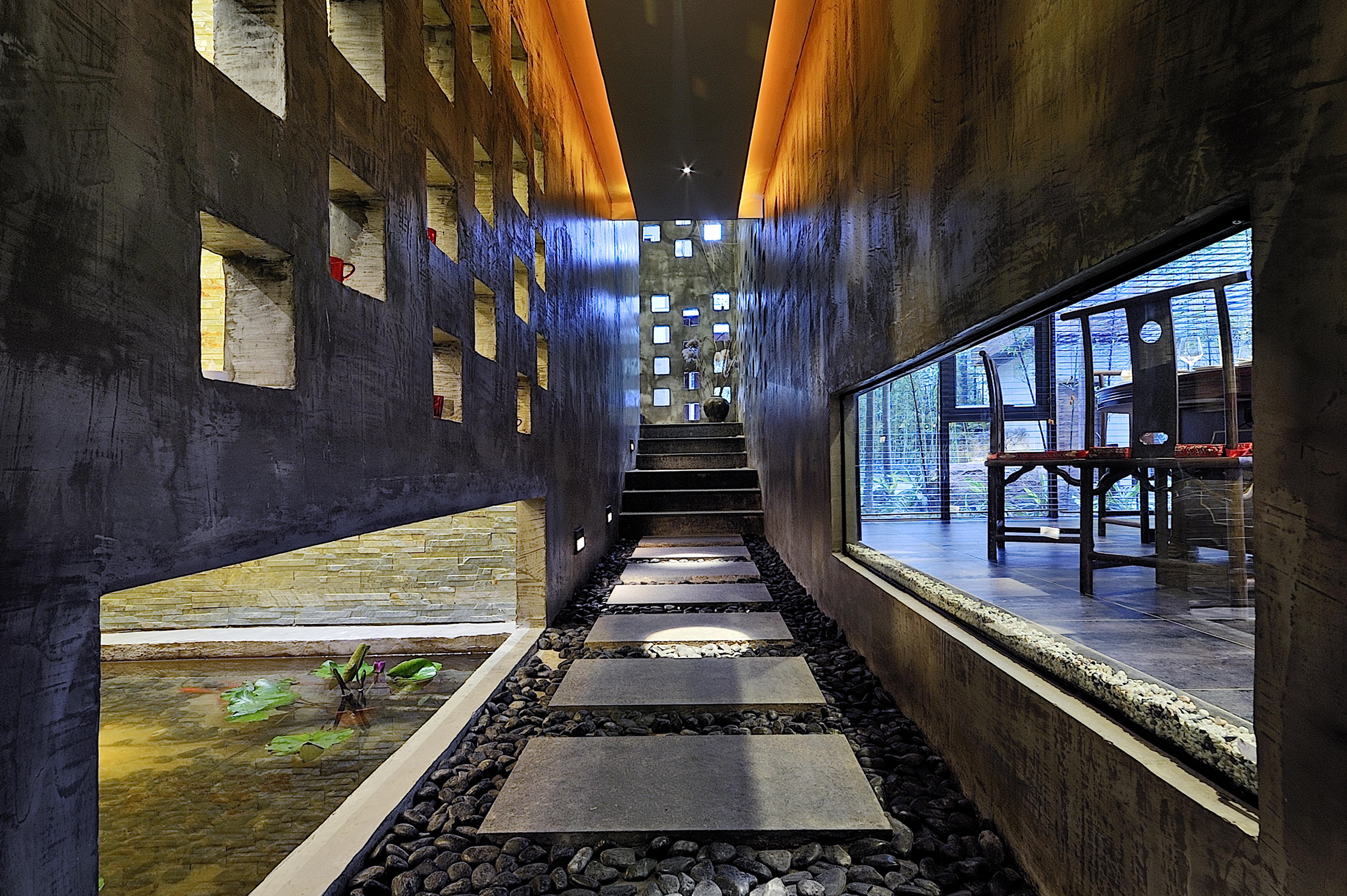 手绘餐饮建筑室内透视