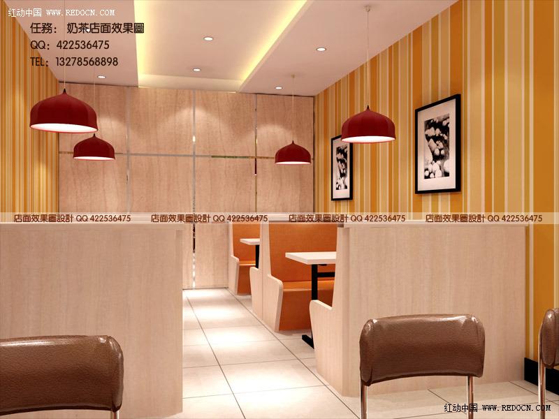 奶茶店 奶茶店设计 简约风格奶茶店 奶茶店装修效果图高清图片