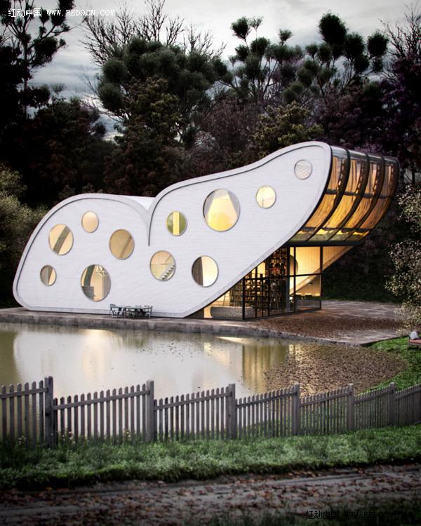 蝴蝶式概念住宅设计欣赏_其他广告_平面_佳作欣赏 专业设计网 - 红动中国-Redocn - 国内知名的设计论坛!