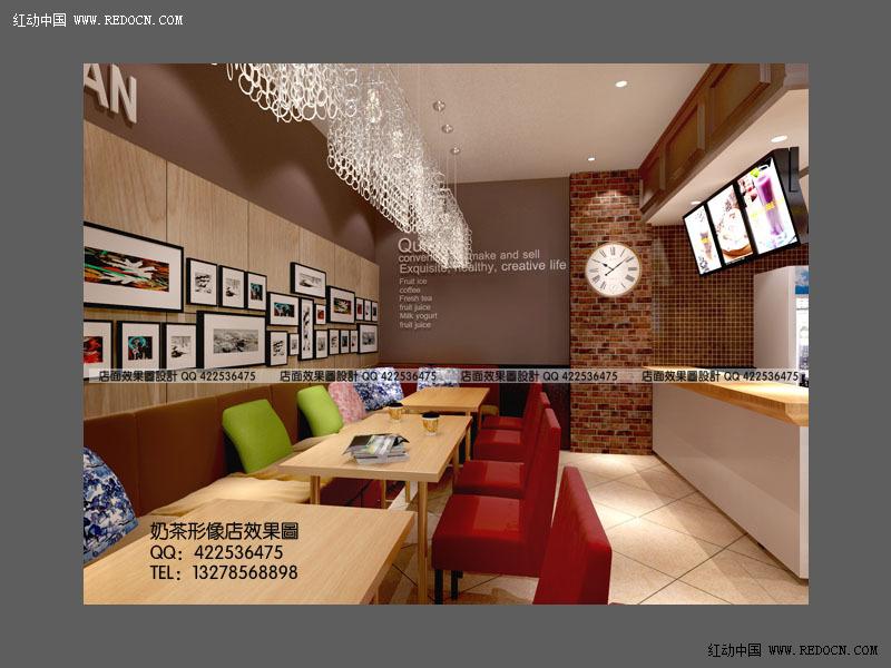 奶茶店设计 奶茶店效果图 奶茶店装修效果图 咖啡厅设计 咖啡馆效果图