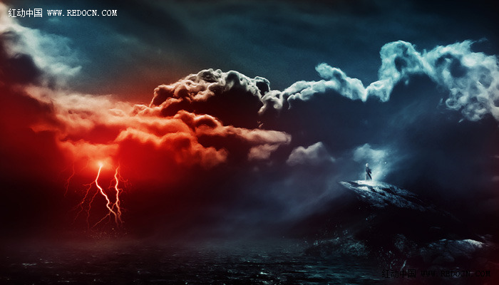 PS合成暴风闪电的诡异天气 合成 修复 图片处理 Photoshop教程图片