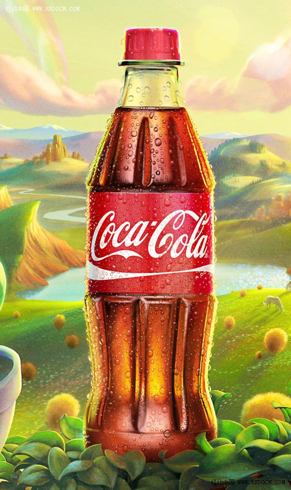 可口可乐植物瓶广告图片