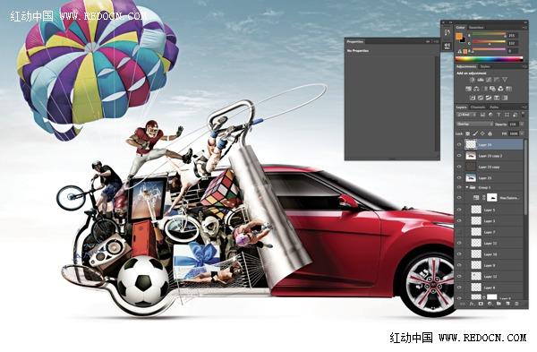 现代汽车创意海报ps合成