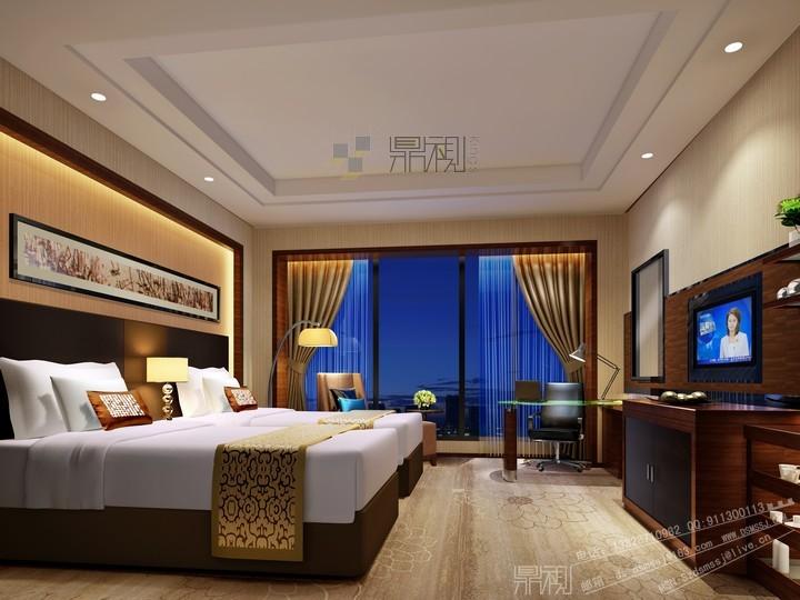 装修效果图 感受有温度的宾馆设计   简洁酒店客房标间设计