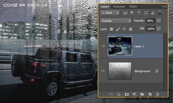 ps雨天玻璃窗文字效果