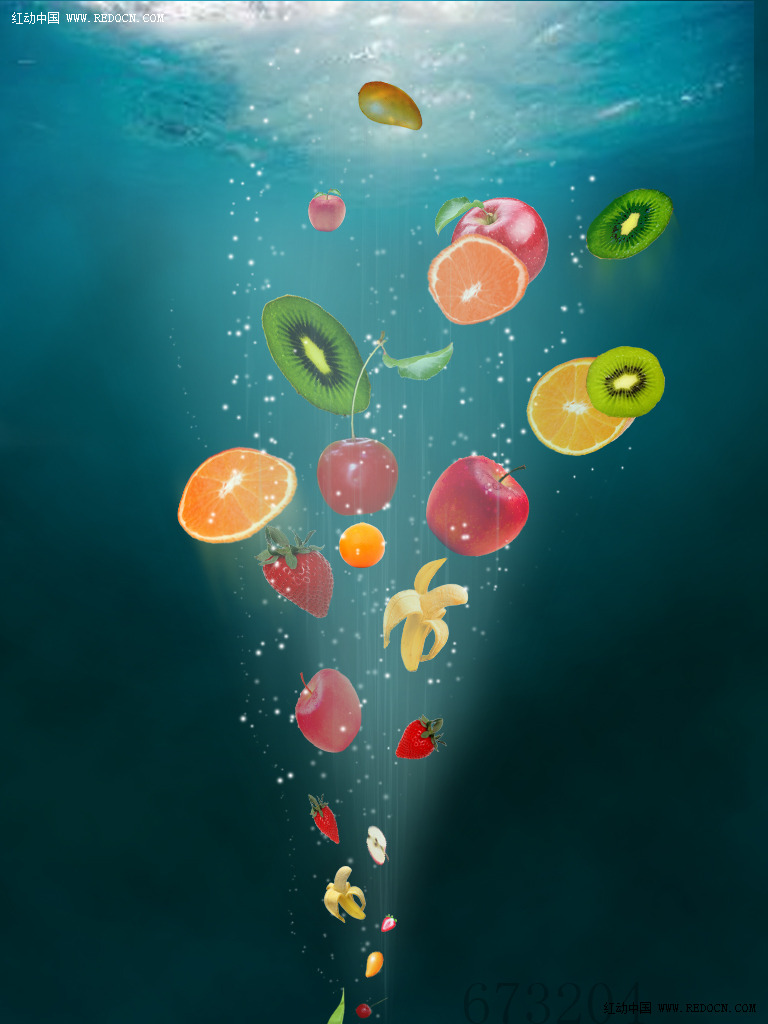 ps制作海底水果海报