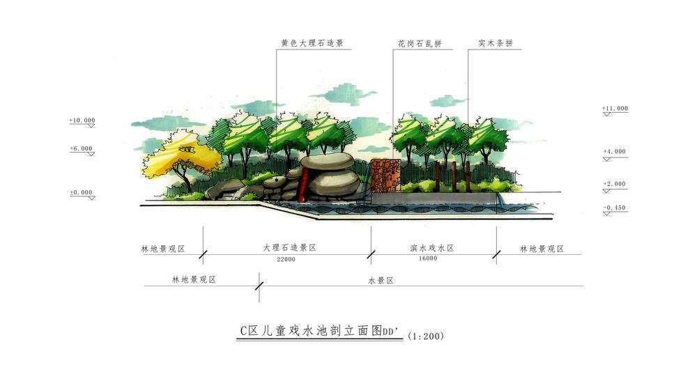 景观手绘立面图_建筑|景观|园林