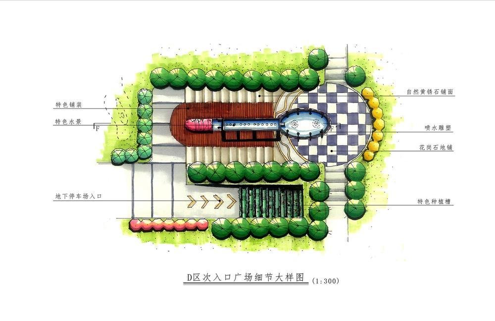 景观手绘平面图_建筑|景观|园林