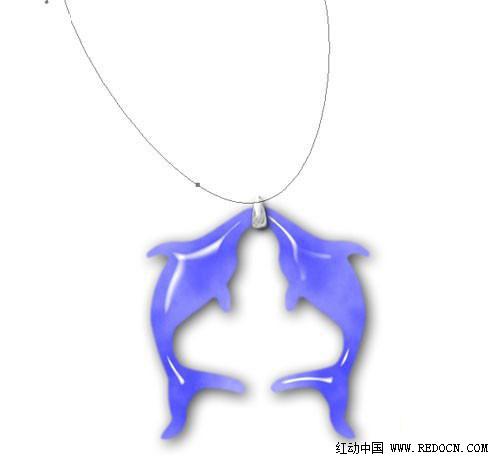 ps手绘蓝色晶莹海豚吊坠