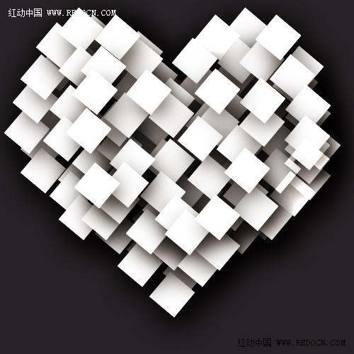 ps简单制作白纸堆叠爱心