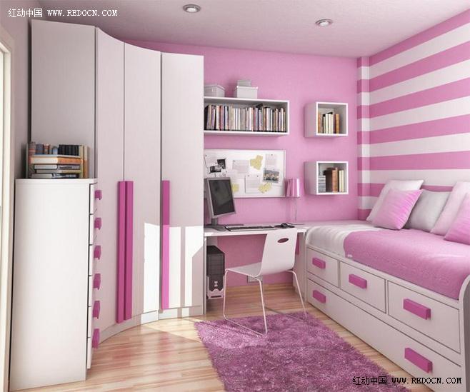 卧室兼书房设计效果图