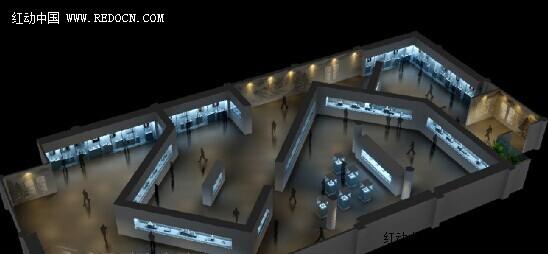 展览室效果图制作设计方案 卖场 展厅 陈列 空间 建筑 佳