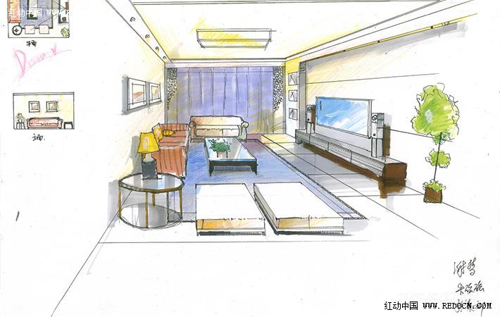 欧式沙发组合手绘图
