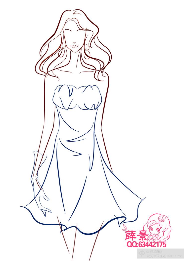 古代服装加头饰头发简笔画