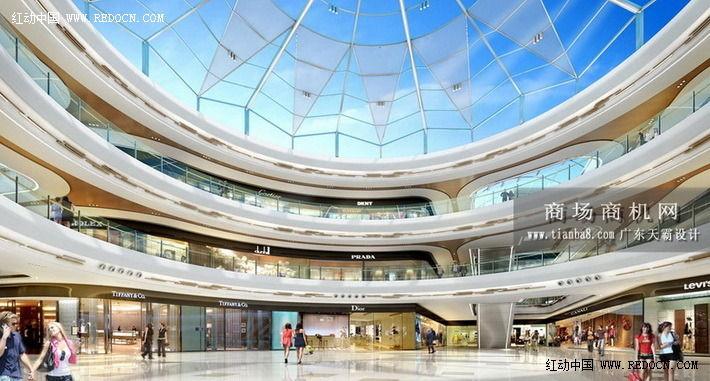 城市综合体效果图推荐 西宁万达广场效果图 室内设计 空