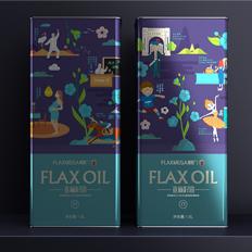 亚麻籽油包装设计 马口铁罐食用油包装设计